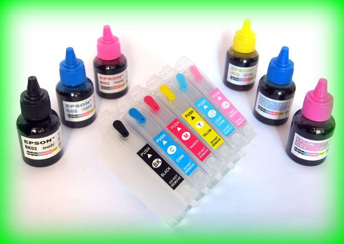E12-XL-Pack 6 cart rech EPSON T0791-792-793-794-795-796-BK-CMJPCPM + 6 x 100 ml – puces autoreset