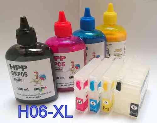 H06-XL-Pack complet 4 cartouches rechargeables HP 950BK-951C-951M-951J + 4 x 100 ml